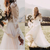 Bohemian Boho Wedding Dresses Long Sleeves Bridal Dresses Custom Size 2 4 6 8 10