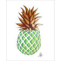 """GREEN AND GOLD PINEAPPLE I"" Original Tropical Coastal Original Fruit Icon Painting from the ""Sketch Style"" Collection"