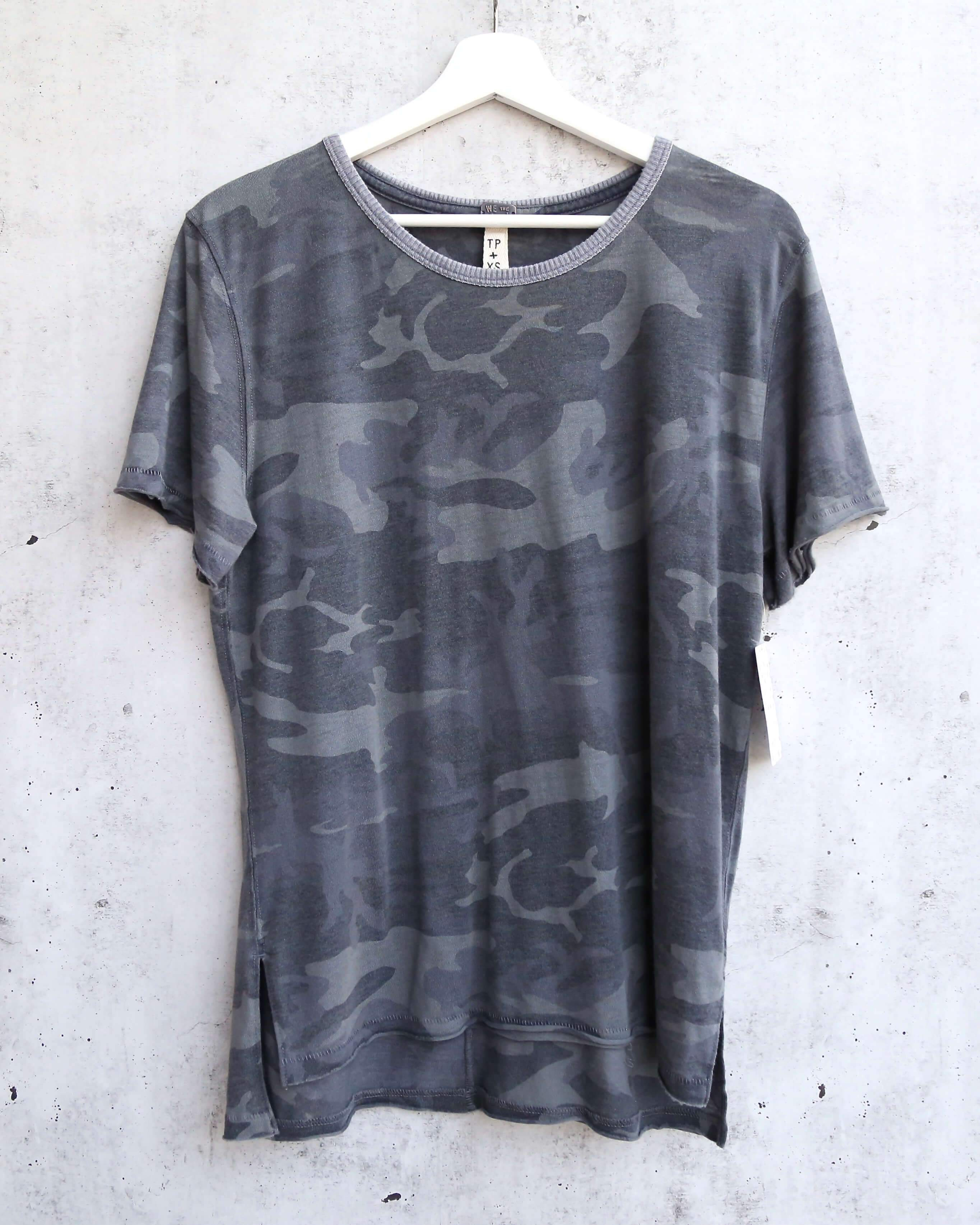 Image of Free People Army Tee in Charcoal