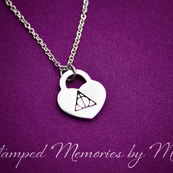 Deathly Hallows - Harry Potter Fan Jewelry - Hogwarts Heart - Always Fangirl - Hand Stamped Necklace - Book Lover - Geekery Nerd Life