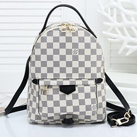 Louis Vuitton LV Woman Fashion Leather Travel Bookbag Shoulder Bag Backpack White Tartan