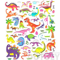 Extra Large Sheet of Colorful Dinosaur T Rex Brontosaurus Shaped Puffy Stickers | Animal Themed Scrapbook Decorating Supplies