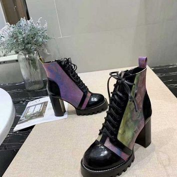 LV Louis Vuitton Trending Women Black Leather Side Zip Lace-up Ankle Boots Shoes High Boots