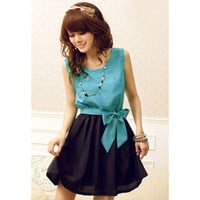 Sky Blue Sleeveless Mini Chiffon Dress with Bow Tie