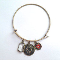 Orange Floral Bohemian Charms Bangle *Alex and Ani Inspired* *PRE-ORDER*