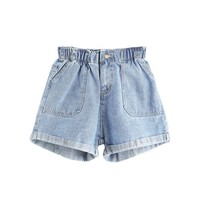 Hot Shorts ROMWE Mid Waisted  for Women Jean  Women Summer Blue Elastic Waist Rolled Hem Ladies Casual Denim AT_43_3