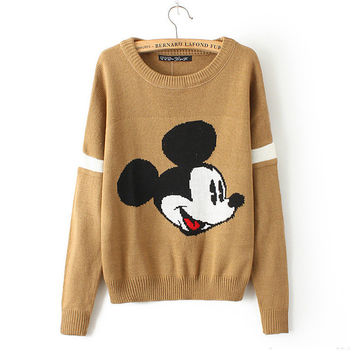 Casual Pattern Print Loose Long Sleeve Knit Sweater