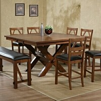 8 Pc. Walnut Finish Picnic Style Counter Height Dining Table Set With Upholstered Seat Chairs