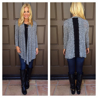 Clear As Day Lace Detailed Cardigan - GREY