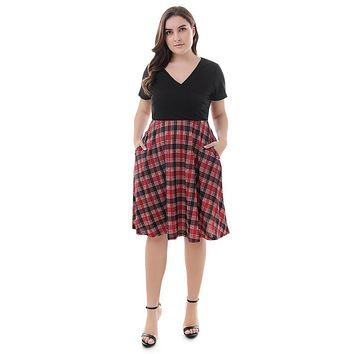 V Neck Short Sleeve Plaid Stripe A line Women Spliced Dress 5137