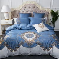King queen luxury Bedding Set blue silver 100%Egyptian cotton embroidery bed cover set Bedsheets set Duvet Cover Pillowcases
