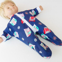 """Bitty Baby Clothes, fits 15"""" Girl Doll, Blue Owl Flannel Pajamas, HANDMADE  new"""