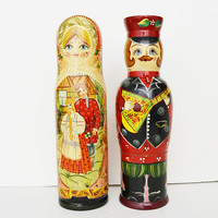 Holder, wine wine wine, big hand painted wooden bottle holder, Anniversary gift,bottle holder, bottle holder Russian girl and boy