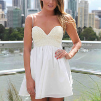 Pearl Bust Dress (White) | Xenia Boutique | Women's fashion for Less - Fast Shipping
