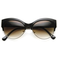 Oval Half Frame Half-Cat Semi Rimless Cateye Sunglasses