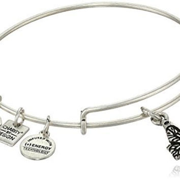 "Alex and Ani ""Charity by Design"" Rafaelian Silver Finish Expandable Wire Bangle Bracelet with Butterfly Charm, 7.75"""
