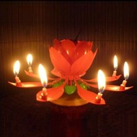 World Pride Rotary Happy Birthday Music Candle Novelty Blooming Lotus Flower Party Lighting Decoration