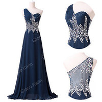 One Shoulder Long Bridesmaid Prom Party Gown Masquerade Formal Evening Dresses