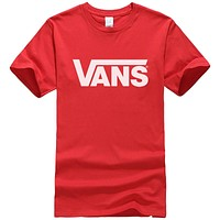 VANS Fashion Women Man Casual Print Sport Round Collar T-Shirt Top Blouse Red