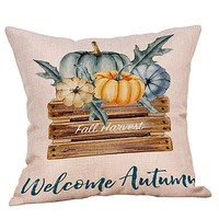 Happy Fall Thanksgiving Day Cushion Cover Pillow Case Turkey Pumpkin Print Happy Halloween Party Decor Pillow Case Cushion cover