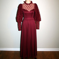Vintage 80s Victorian Dress Small Edwardian Victorian Costume Cosplay Goth Mutton Sleeves Halloween Burgundy FREE SHIPPING Womens Clothing