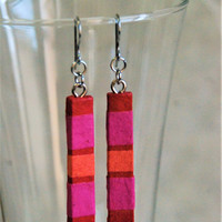 Long Slim Red Pink Hanji Paper Earrings OOAK Patchwork Striped Bright Colors Delicate Earrings Hypoallergenic Dangle Earrings Lightweight