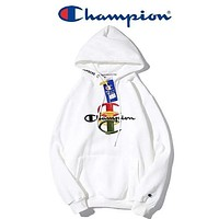 Champion Autumn And Winter New Fashion Embroidery Letter Keep Warm Leisure Couple Hooded Long Sleeve Sweater White