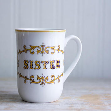 Vintage Sister Mug, Retro Tea Cup, Personalized Gift, Retro Coffee Cup, White Gold Black