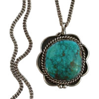 SIGNED Vintage Native American NAVAJO Turquoise Necklace Pendant Sterling Silver Chain SUSIE BENALLY 13.2 Grams