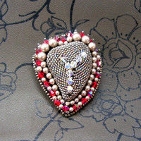 Bead Embroidered heart brooch in D&G style
