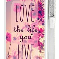 "Trendy Hipster iPhone 4 Case - Pink ""Love the Life You Live"" Quote iPhone Case with Pink Wildflower Field"