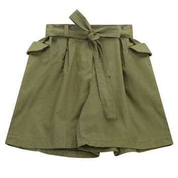 Wide Legs Belted Shorts