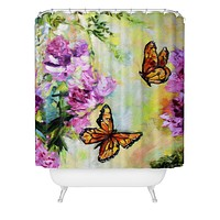 Ginette Fine Art Butterflies and Peonies Shower Curtain