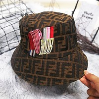 FENDI Fashion Women Men Retro Embroidery Fisherman Cap Fashion Sun Hat