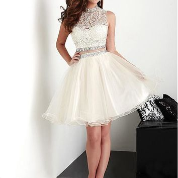 [98.99] Fabulous Tulle & Stretch Satin High Collar Neckline A-Line Two-piece Homecoming Dresses With Lace Appliques - dressilyme.com