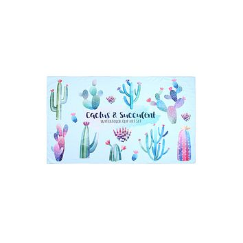 HDF3211 - CACTUS AND SUCCULENT PATTERN TOWEL