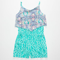 Mima Chica Mixed Print Ruffle Girls Romper Turquoise Combo  In Sizes