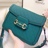 GUCCI New fashion more letter leather shoulder bag crossbody bag saddle bag Green