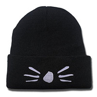 JRICK Dan and Phil Cat Whiskers Logo Beanie Fashion Unisex Embroidery Beanies Skullies Knitted Hats Skull Caps - Black/White