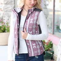 Contrasting Back Faded Aztec Puff Vest {Burgundy+Grey}
