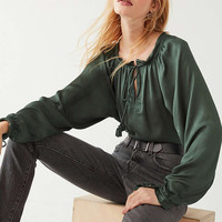 UO Silky Tassel-Tie Blouse | Urban Outfitters