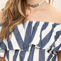 Venice Nights Blue and White Striped Off-the-Shoulder Crop Top