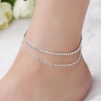 Fashion Casual Glitter Layered Anklet Chain