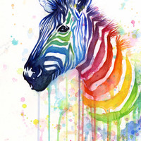 Rainbow Zebra Watercolor Painting | Ode to Fruit Stripes Art Print by Olechka