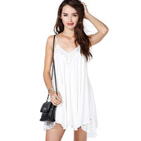White Halter Lace Fringed V-Neck Backless Swing Dress