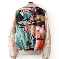 2016 Trending Fashion Floral Printed Women Zipper Stand Collar  Sweater Cardigan Coat Jacket Outerwear Top _ 9731