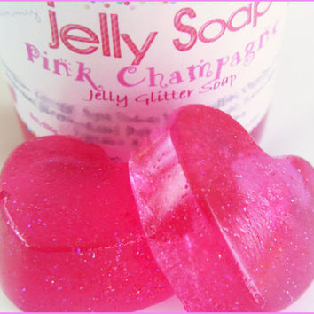 Pink Champagne Glitter Jelly Soap - Wiggly Jiggly Jelly Soap - Vegan - Fun Jelly Soap - Shower Jellie