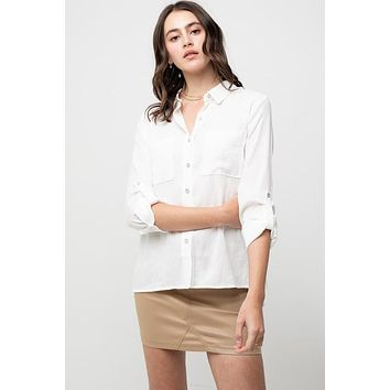 Women's Button Front Collared Shirt with Tab Sleeves