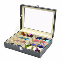 8 Grid Eyewear Sunglasses Glasses Storage Display Case Box Organizer PU Leather Tray Holder