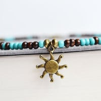 Sun Charm Brass Necklace, Wood and Turquoise Hippie Beach Necklace, Blue and Brown Beaded Necklace